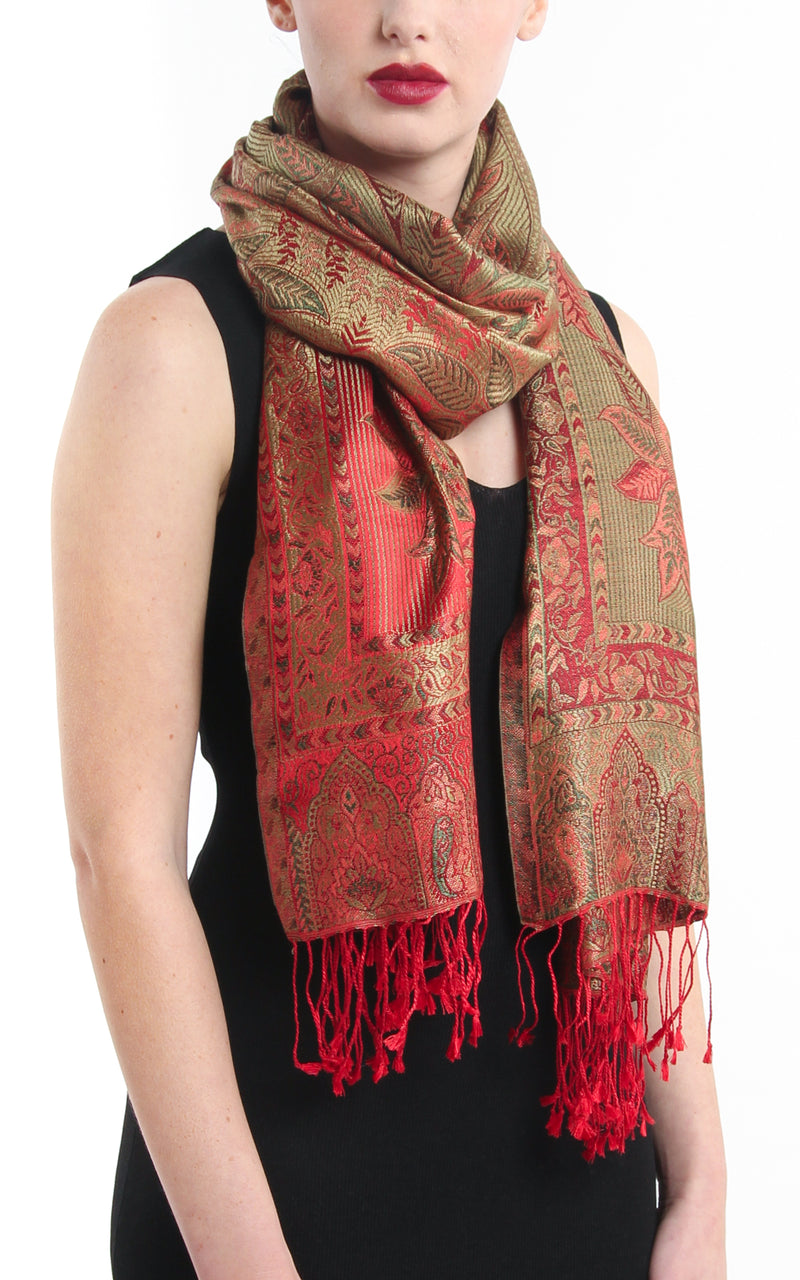 Regal Red warm toned paisley designed 100% silk pashmina hanging around neck