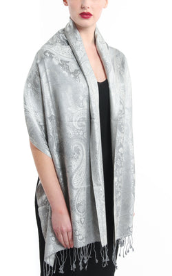 Reflective Silver lavish light catching pure silk pashmina with tassels around the shoulders