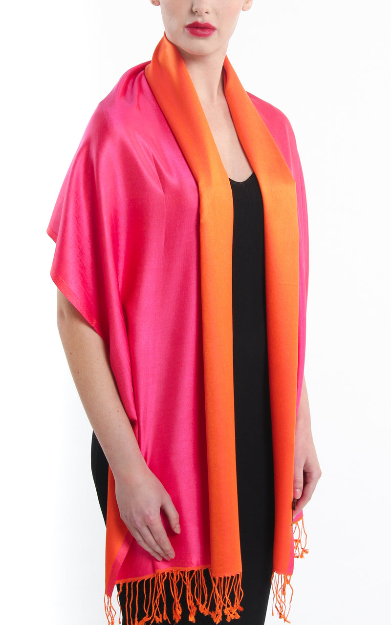 Luxury 100% pure silk fuschia bright orange  reversible pashmina draped around shoulders