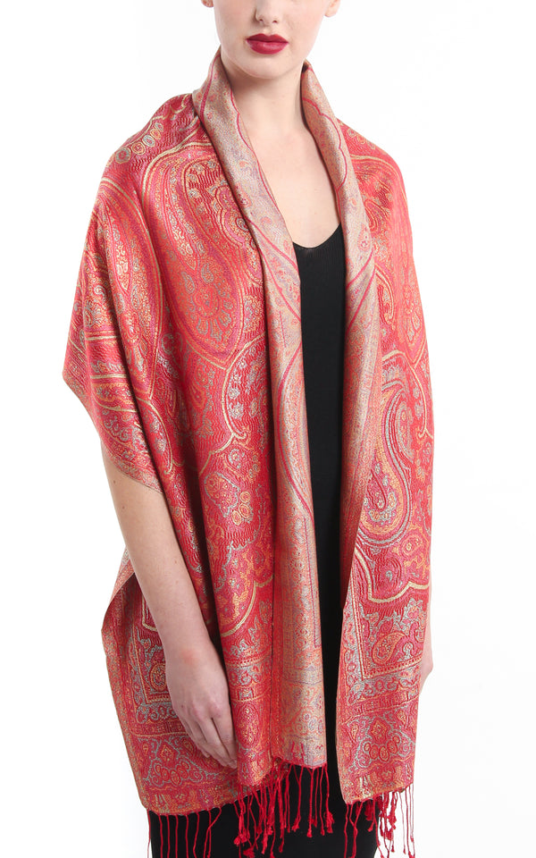 Luxurious cherry red reversible  Pure Silk Pashmina with Paisley pattern hanging around the neck