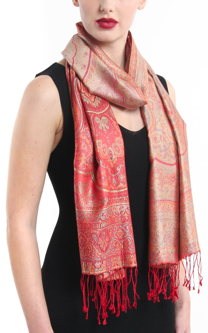 Luxurious cherry red reversible  Pure Silk Pashmina with Paisley pattern styled around the neck