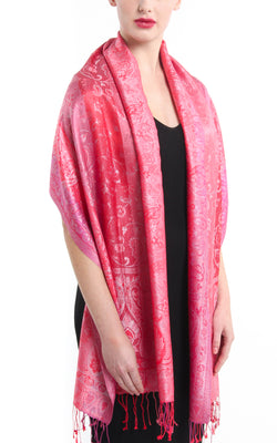 Striped paisley design luxury pink red 100% silk pashmina around shoulders free uk shipping