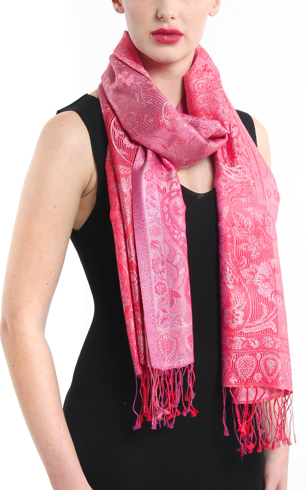 Striped luxurious red pink paisley designed pure silk pashmina with tassels styled around the neck