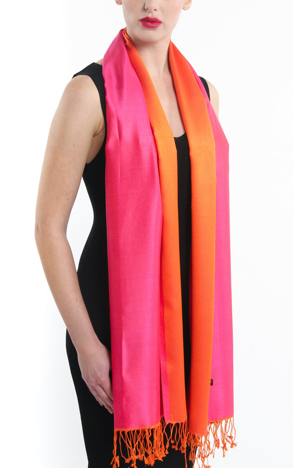 Luxury 100% pure silk fuschia bright orange  reversible pashmina with tassels