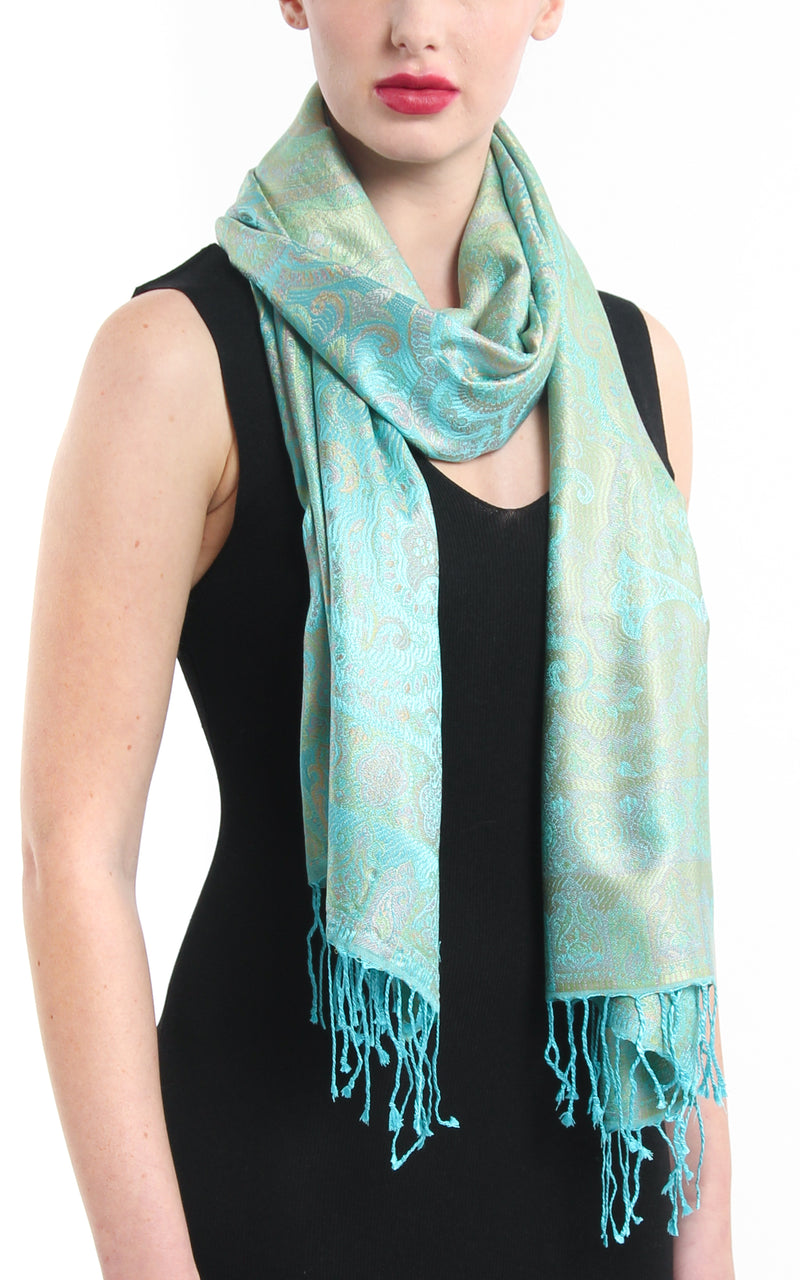 turquoise reversible pure silk paisley scarf around the neck