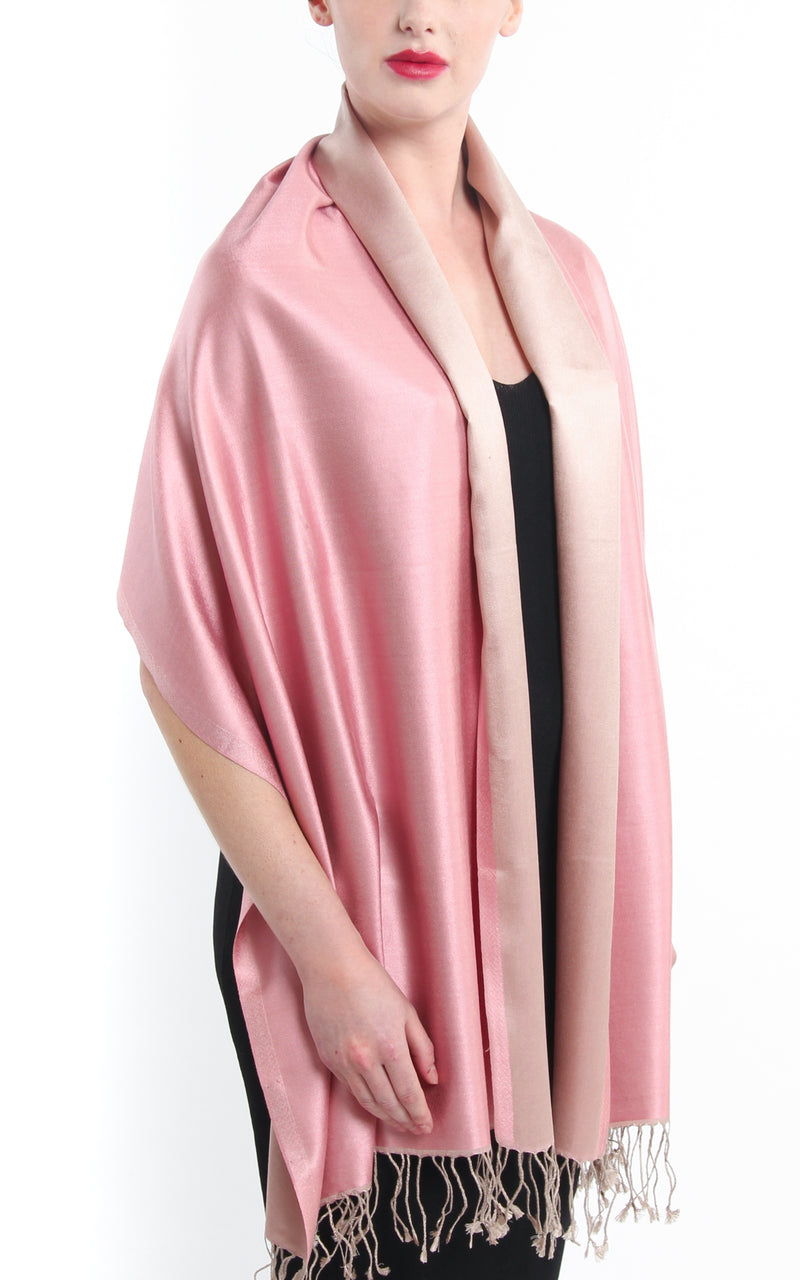 Luxury 100% pure  Silk baby pink cream reversible pashmina with tassels