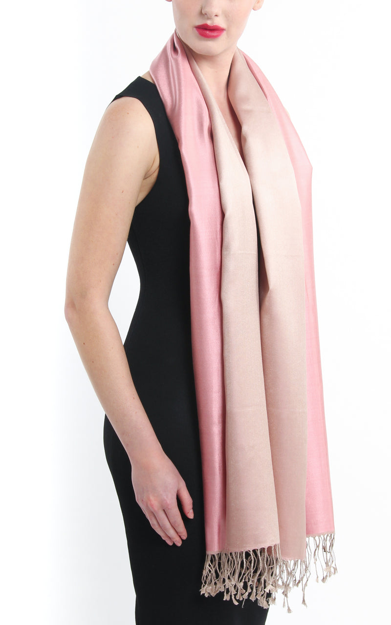 100% pure  Silk baby pink cream reversible pashmina with tassels free uk shipping