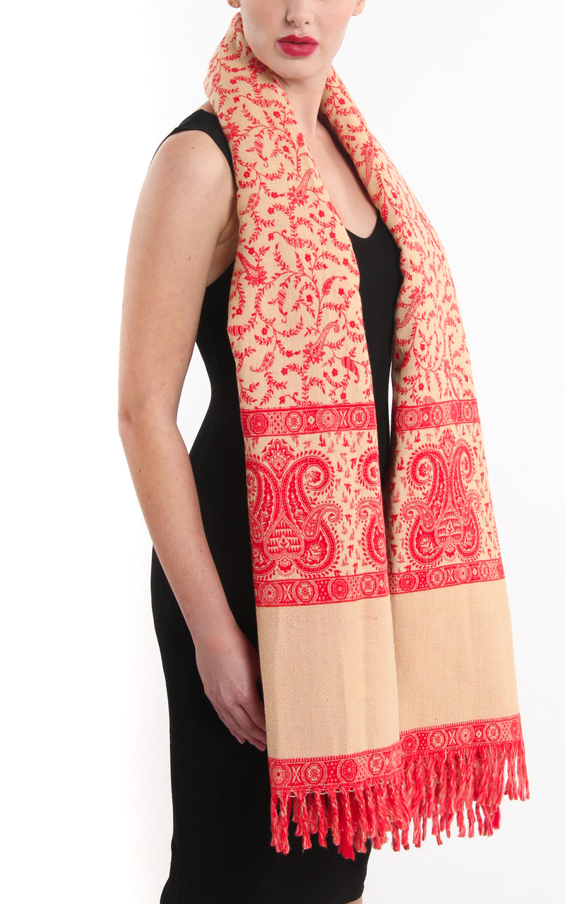 Bright orange paisley design tibet shawl  around shoulders free uk shipping