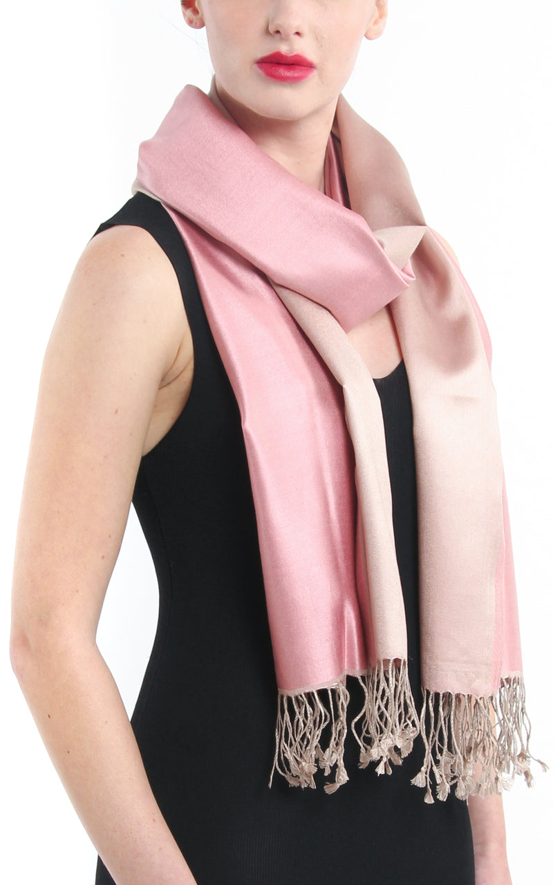100% pure  Silk baby pink cream reversible pashmina styled around neck