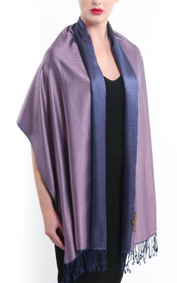 Luxury 100% pure silk purple navy blue reversible pashmina draped around shoulders