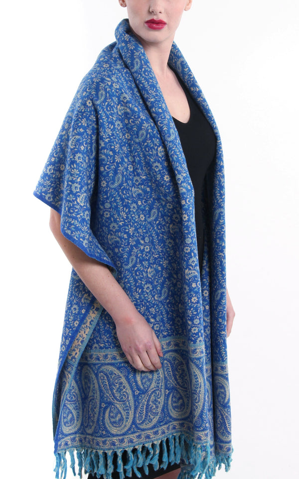 Sea blue paisley designed blanket warm reversible  tibet shawl with cream accents