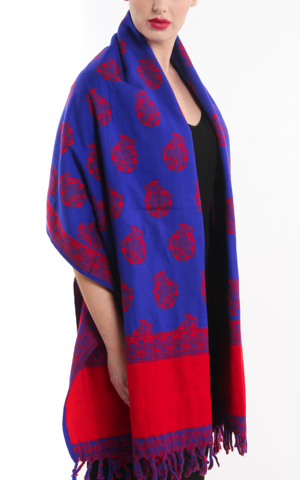 Bright violet blue and rose red blanket with tassels scarf reversible tibet shawl
