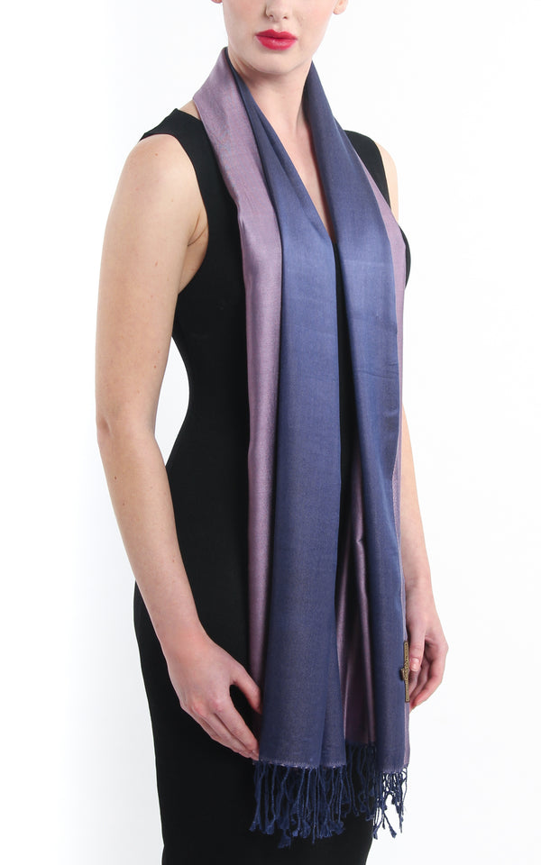 Luxury 100% pure silk purple navy blue reversible pashmina with tassels