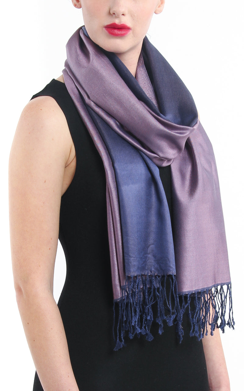 Luxury 100% pure silk purple navy blue reversible pashmina close up