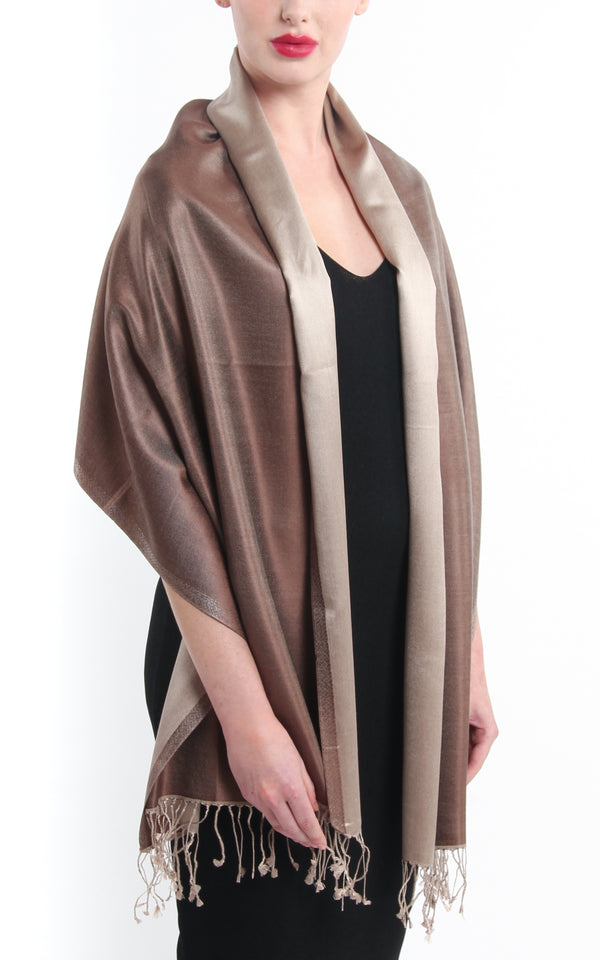 100% pure silk neutral brown cream  reversible pashmina with tassels