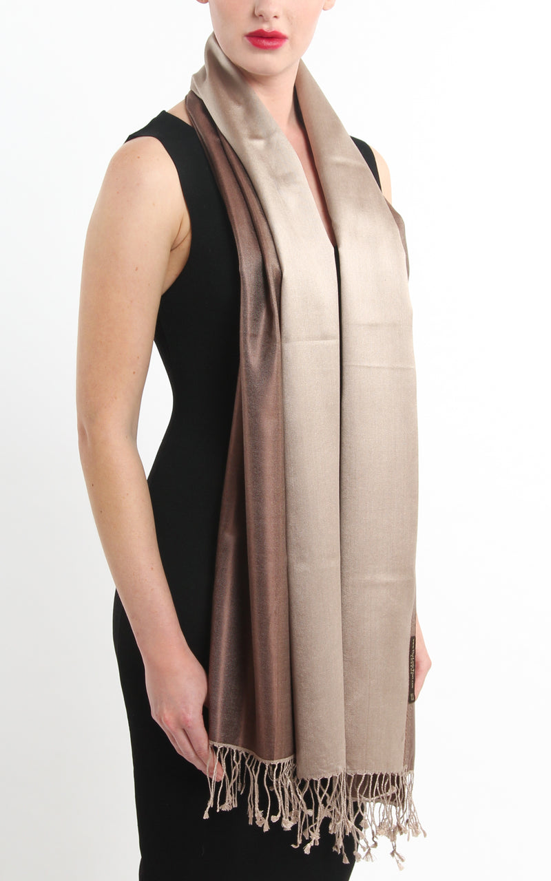 100% pure silk neutral brown cream  reversible pashmina silk scarf draped around neck