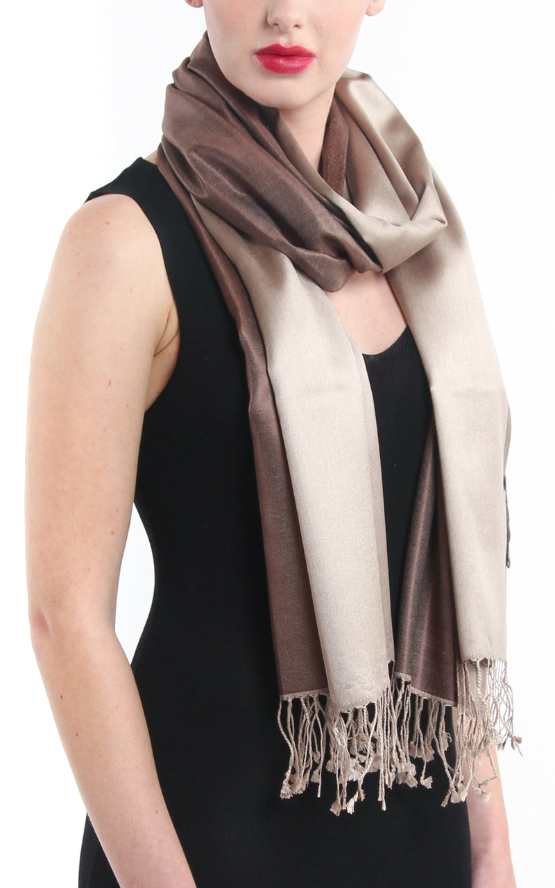 100% pure silk neutral brown cream  reversible pashmina silk scarf with tassels close up