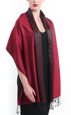 Luxury 100% pure burgundy maroon red  reversible pashmina draped around shoulders