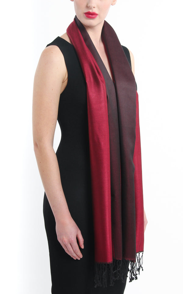 Luxury 100% pure burgundy maroon red  reversible pashmina free uk shipping