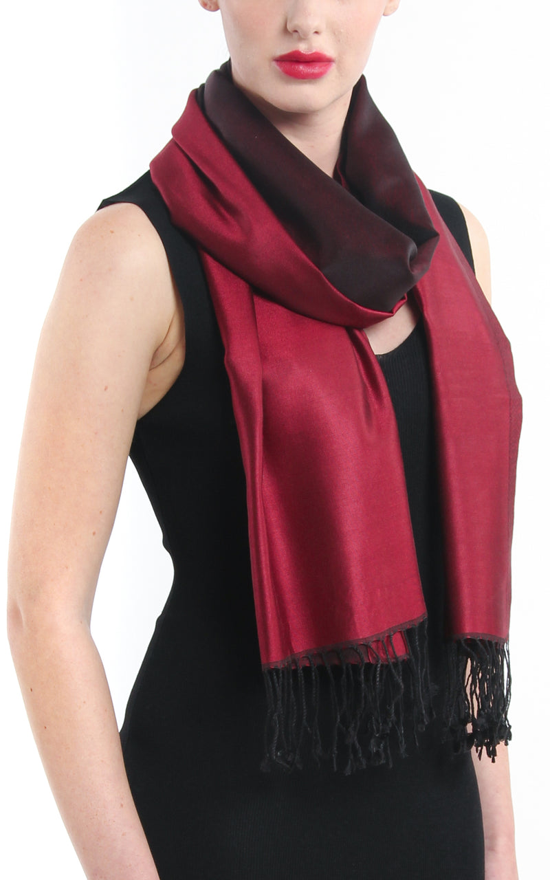 Luxury 100% pure burgundy maroon red  reversible pashmina with tassels