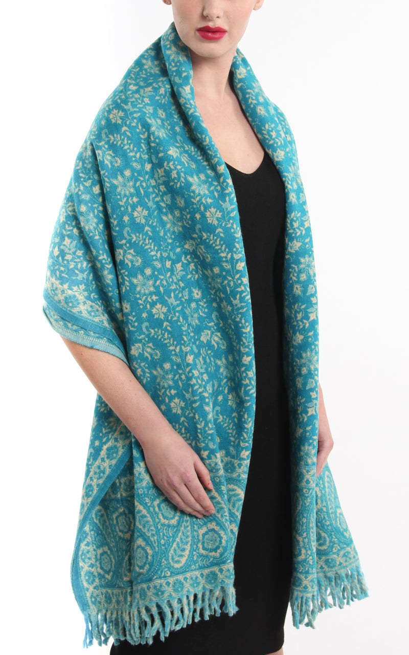 Aqua blue  paisley designed blanket warm reversible  tibet shawl around the shoulders