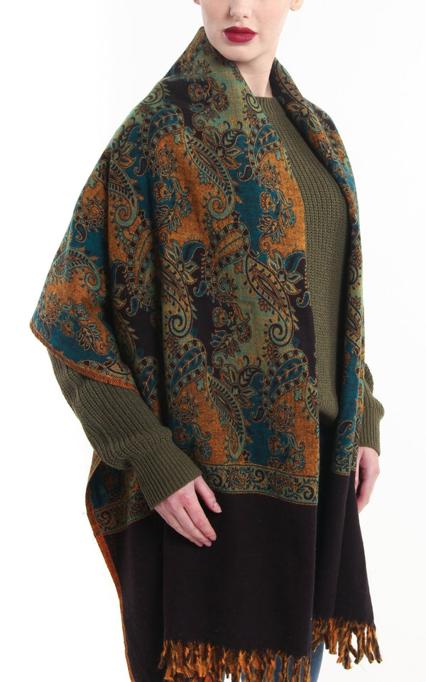 Multi-coloured green paisley designed blanket scarf tibet shawl with tassels
