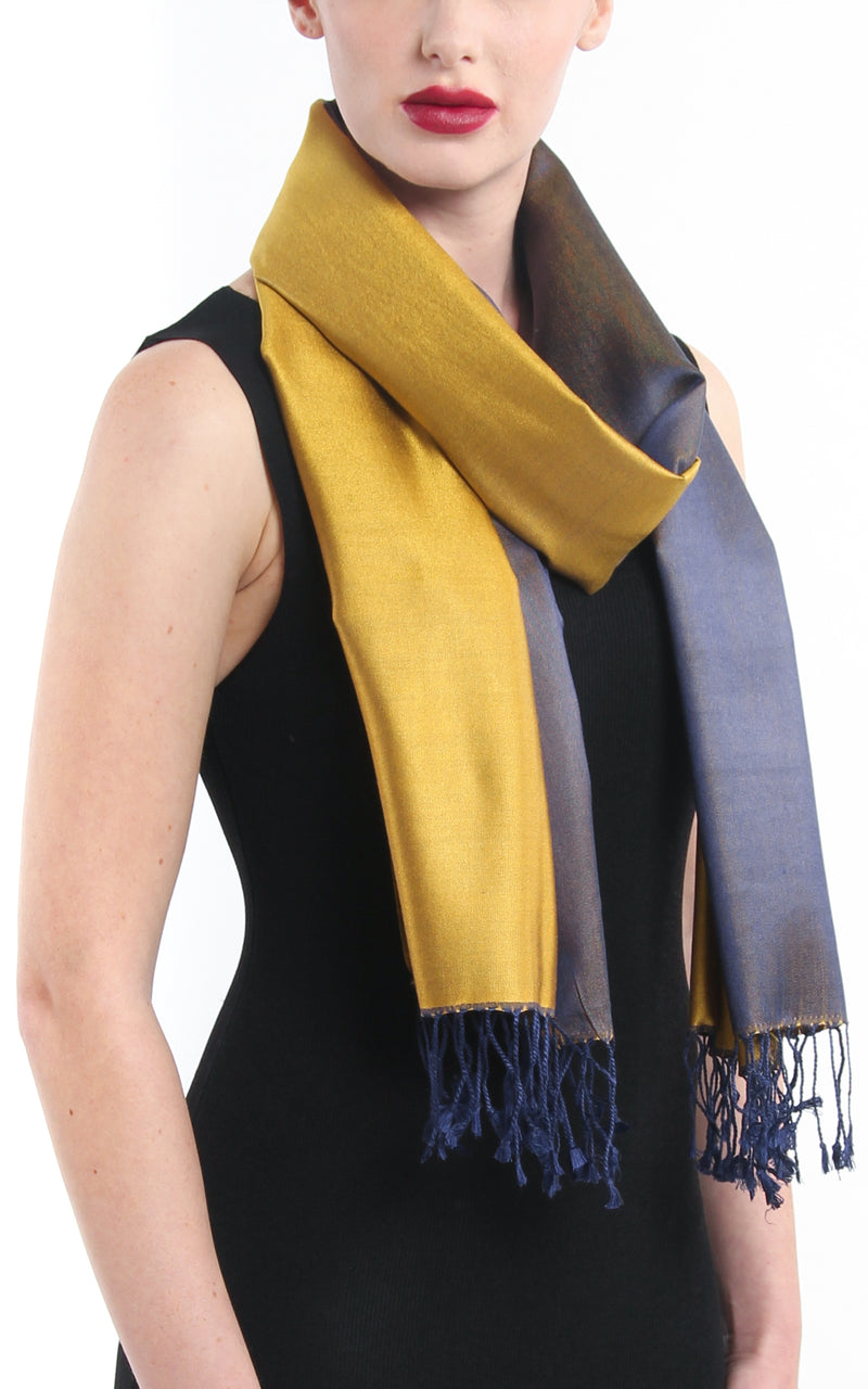 Luxury 100% pure silk regal gold navy blue reversible pashmina free uk shipping