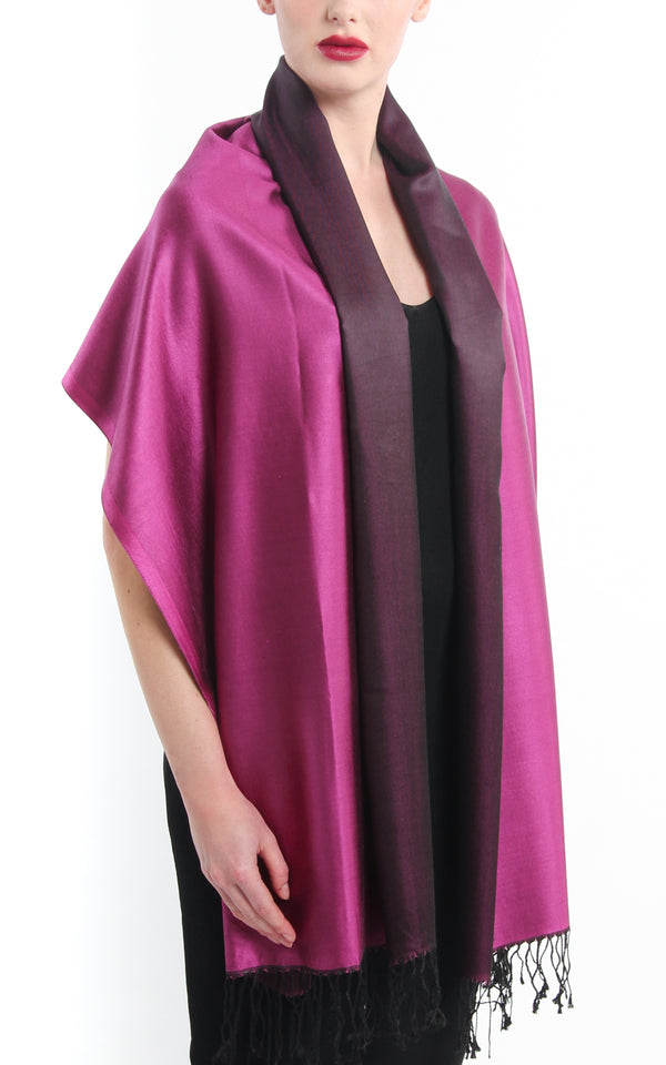 Luxury 100% pure silk magenta black reversible pashmina draped around shoulders