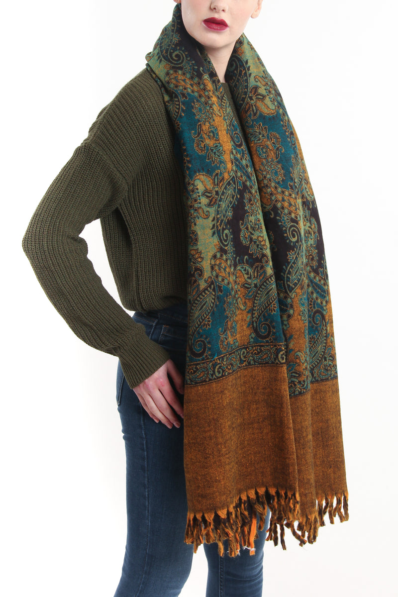 Multi-coloured green paisley designed blanket scarf tibet shawl with yellow accents