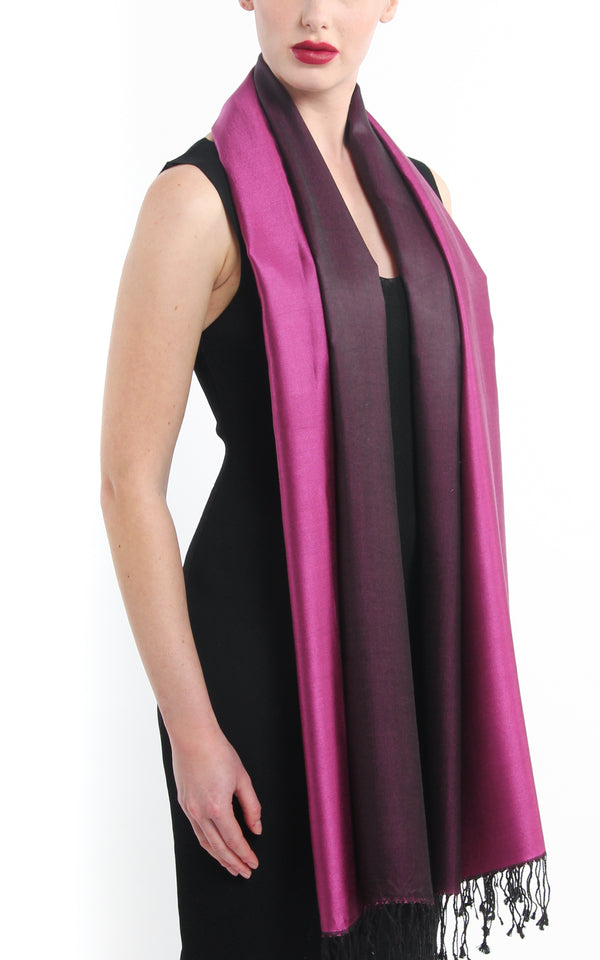 Luxury 100% pure silk magenta black reversible pashmina free uk shipping