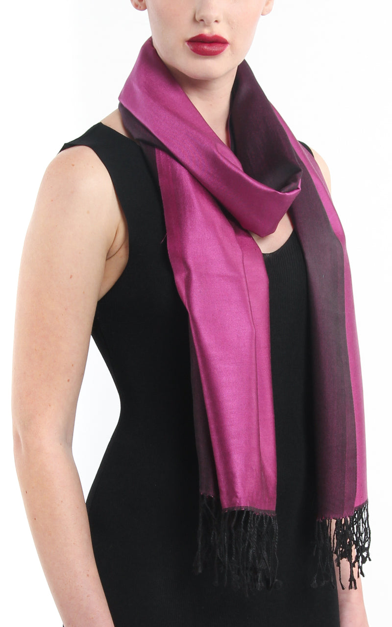 Luxury 100% pure silk magenta black reversible pashmina with tassels