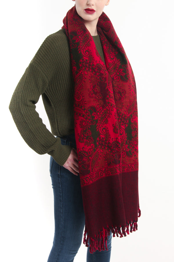 Warm toned intense red  with tassels styled around neck reversible tibet shawl