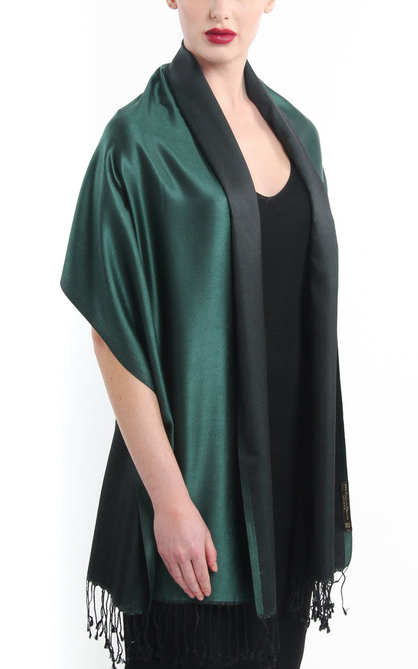 Luxury 100% pure silk  forest green reversible pashmina draped around shoulders
