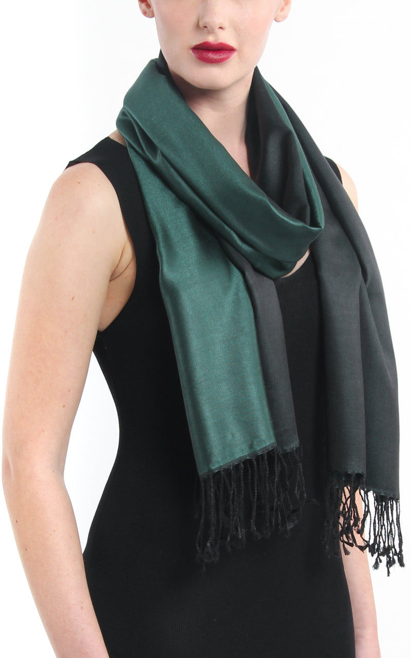 Luxury 100% pure silk  forest green reversible pashmina with tassels