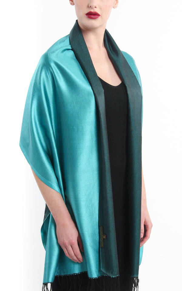 Luxury 100% pure silk forest green turquoise reversible pashmina draped around shoulders