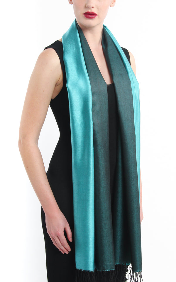 Luxury 100% pure silk forest green turquoise reversible pashmina free uk shipping