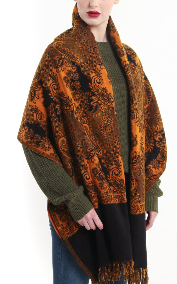 orange gold paisley design reversible himalayan tibet shawl  with tassels