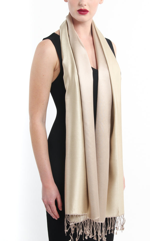 Luxury 100% pure  Silk cream Scarf with tassels draped around neck