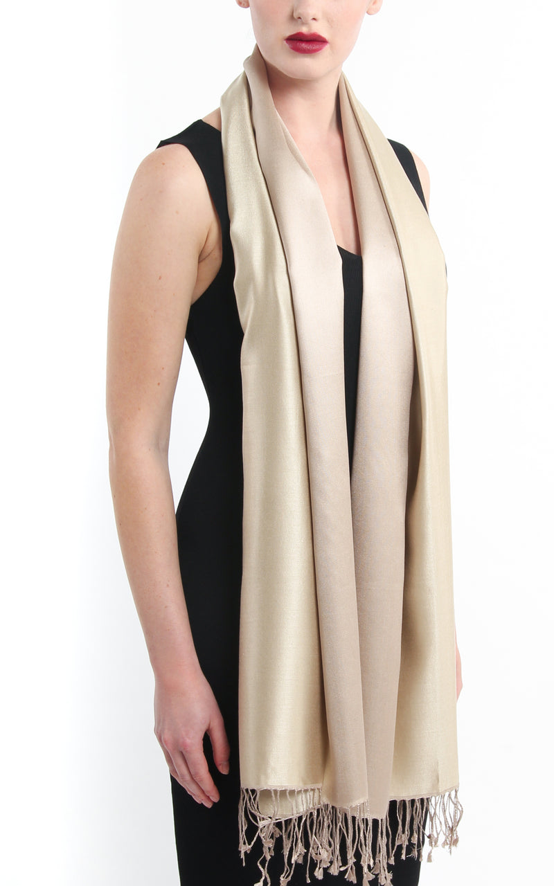 Luxury 100% pure  Silk cream silk Scarf with tassels draped around neck
