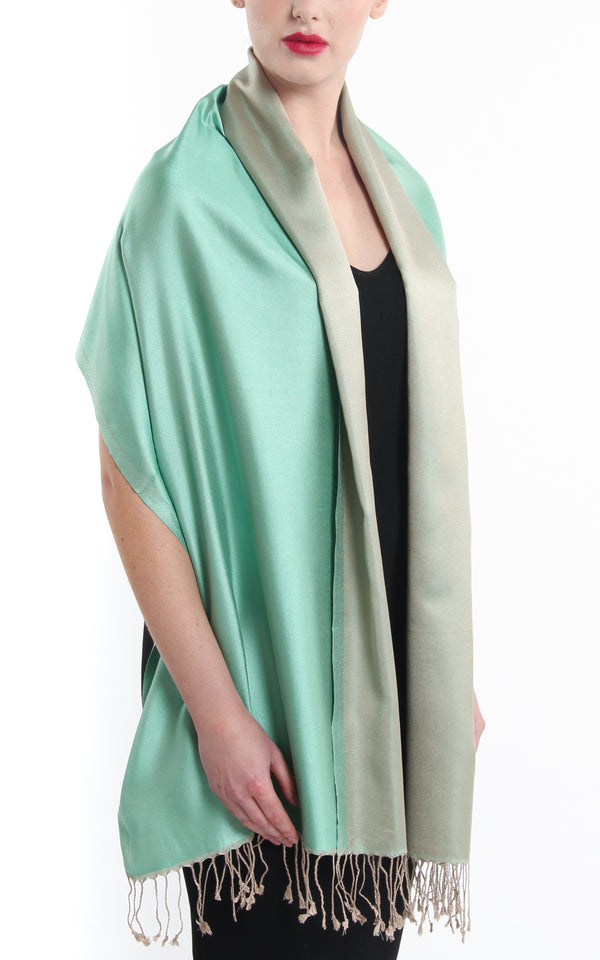 100% pure  Silk mint green cream  reversible pashmina with tassels
