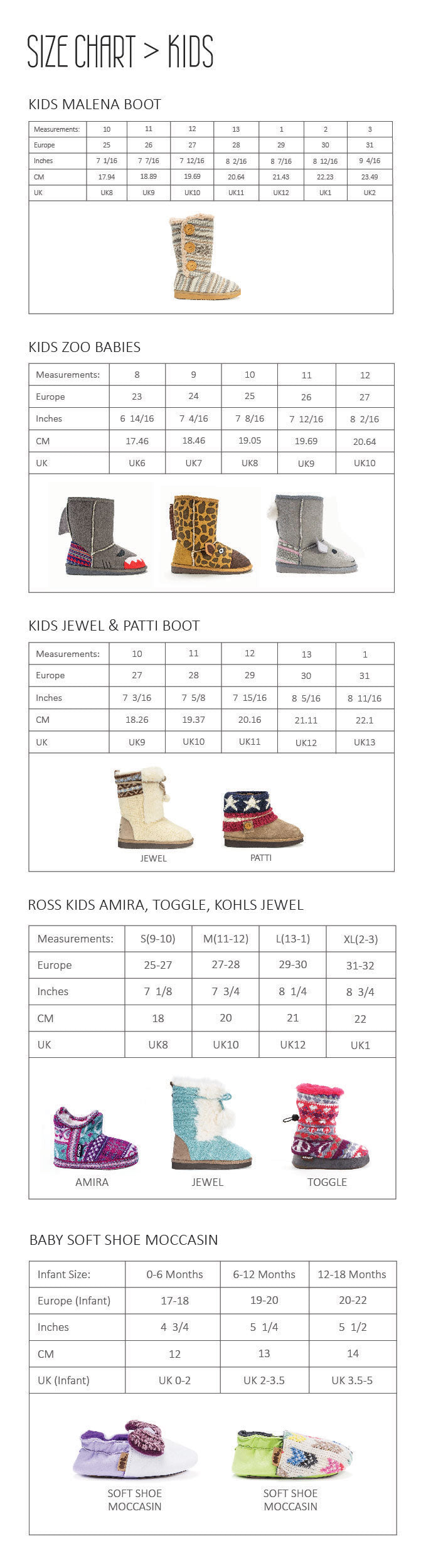 Kids size chart mobile view