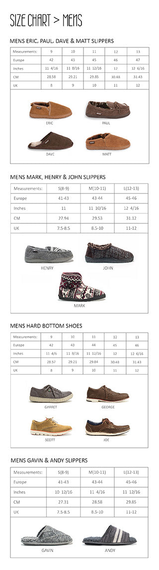 Mens shoes and slippers size chart