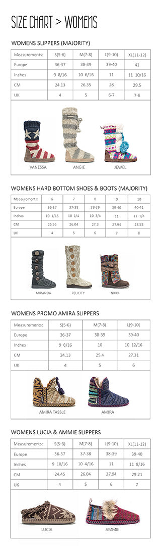 Shoes and slippers size chart mobile view