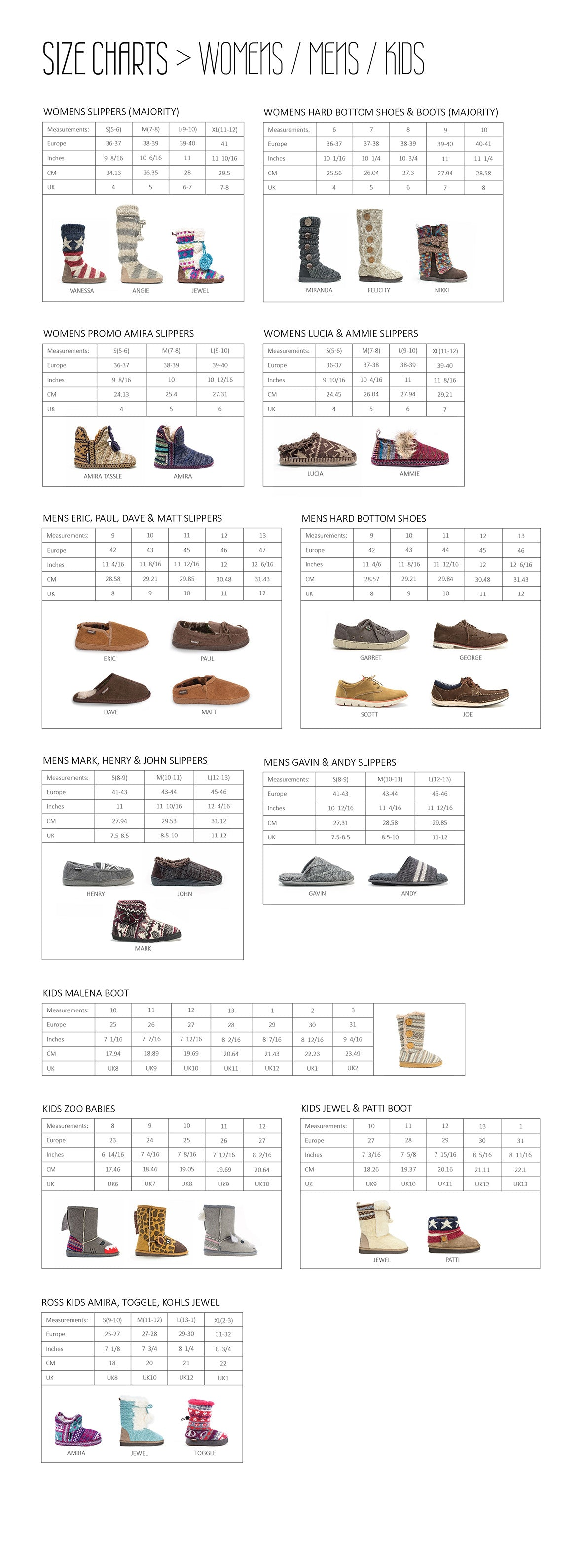 Shoes and slippers size chart