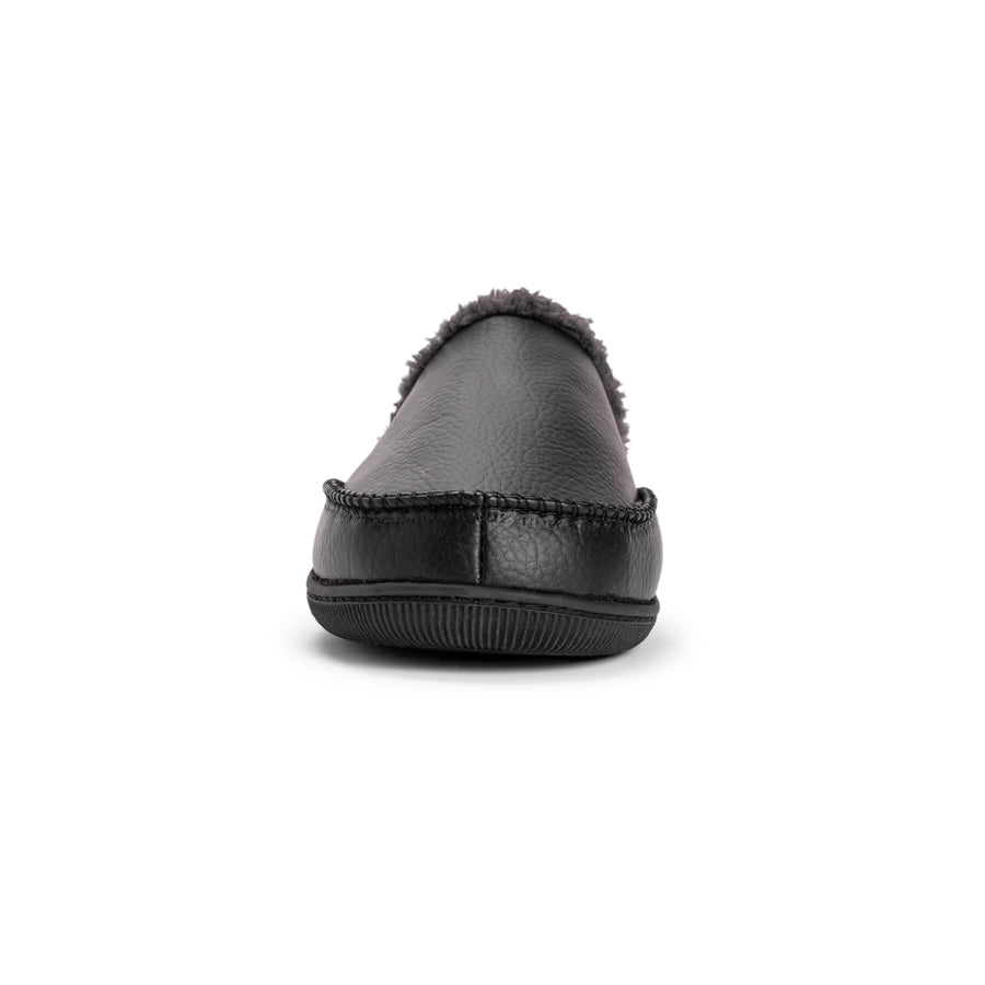 Men's Faux Leather Clog Slippers Black - MUK LUKS