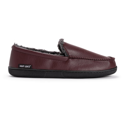 Men's Moccasin Slippers - Solid Brown - MUK LUKS