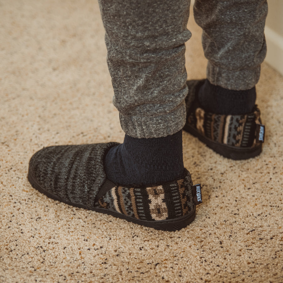 Men's Christopher Slippers - Ebony/Dark Grey Heather - MUK LUKS