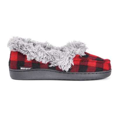 Women's Anais Moccasin Slippers - Red Buffalo Plaid Oh Deer Collection - MUK LUKS
