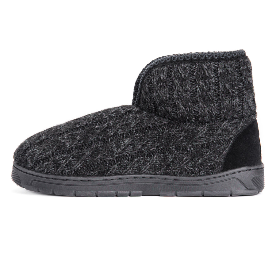 Men's Mark Bootie Slippers - Ebony/Grey - MUK LUKS