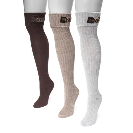 Women's 3 Pair Buckle Cuff Over the Knee Socks - MUK LUKS